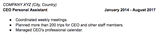 Exemple description de poste CV anglais
